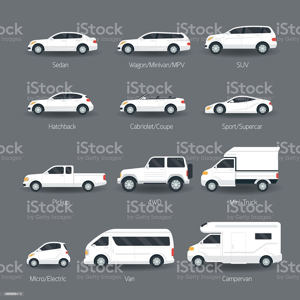 Car Type and Model Objects icons Set vector art illustration