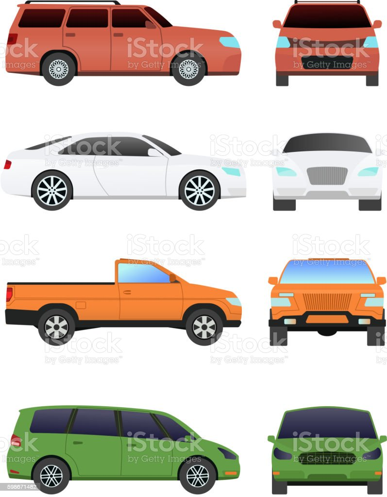 Car vechicle transport isolated on white vector art illustration