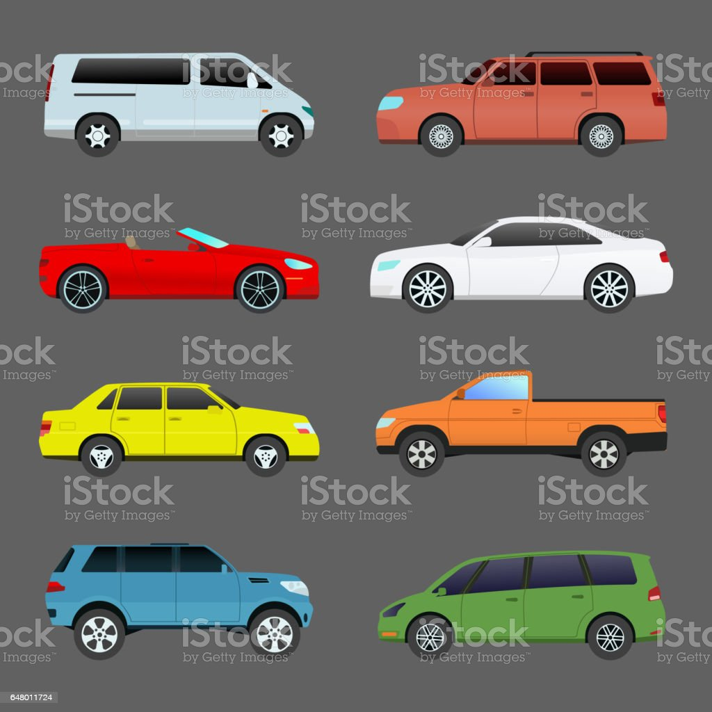 Car vehicle transport type design travel race model sign technology style and generic automobile contemporary kid toy flat vector illustration isolated icon vector art illustration