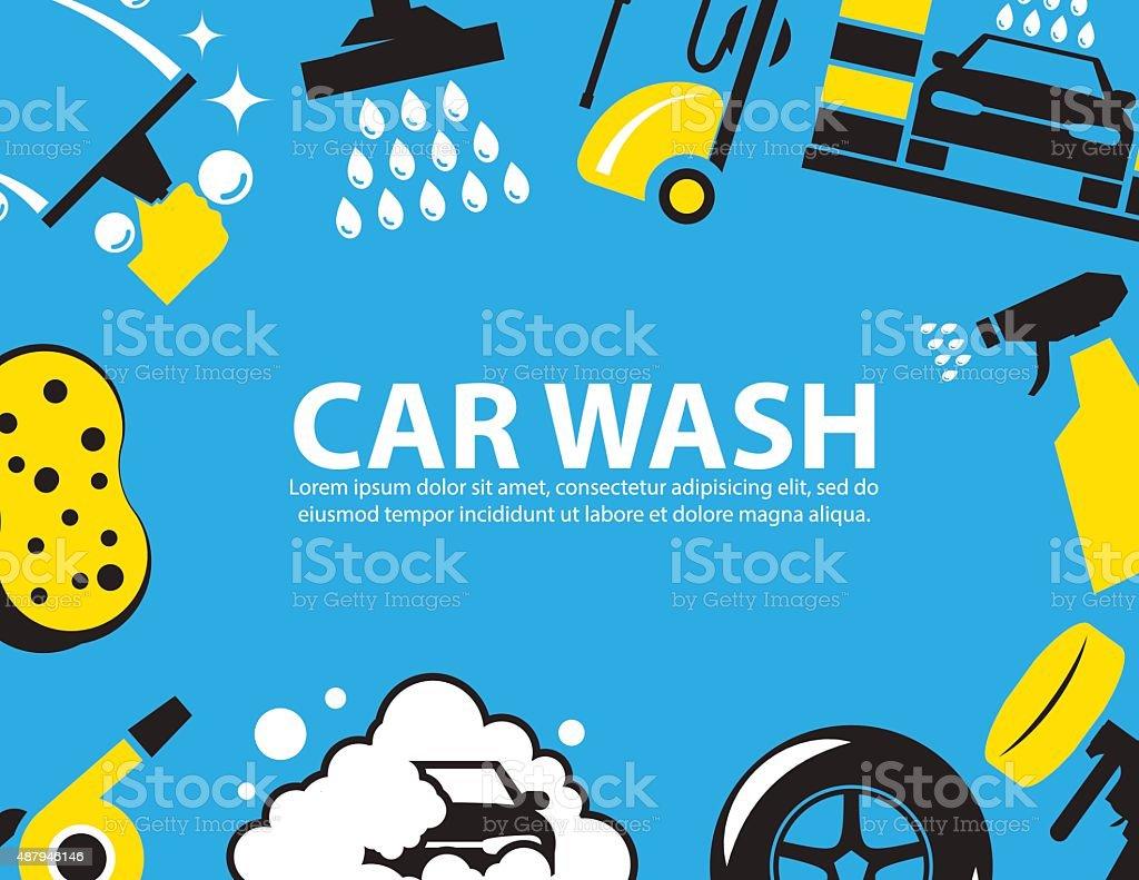 Car wash Background vector art illustration