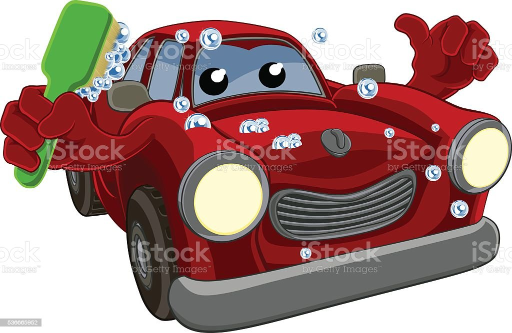 Car Wash Cartoon Mascot vector art illustration