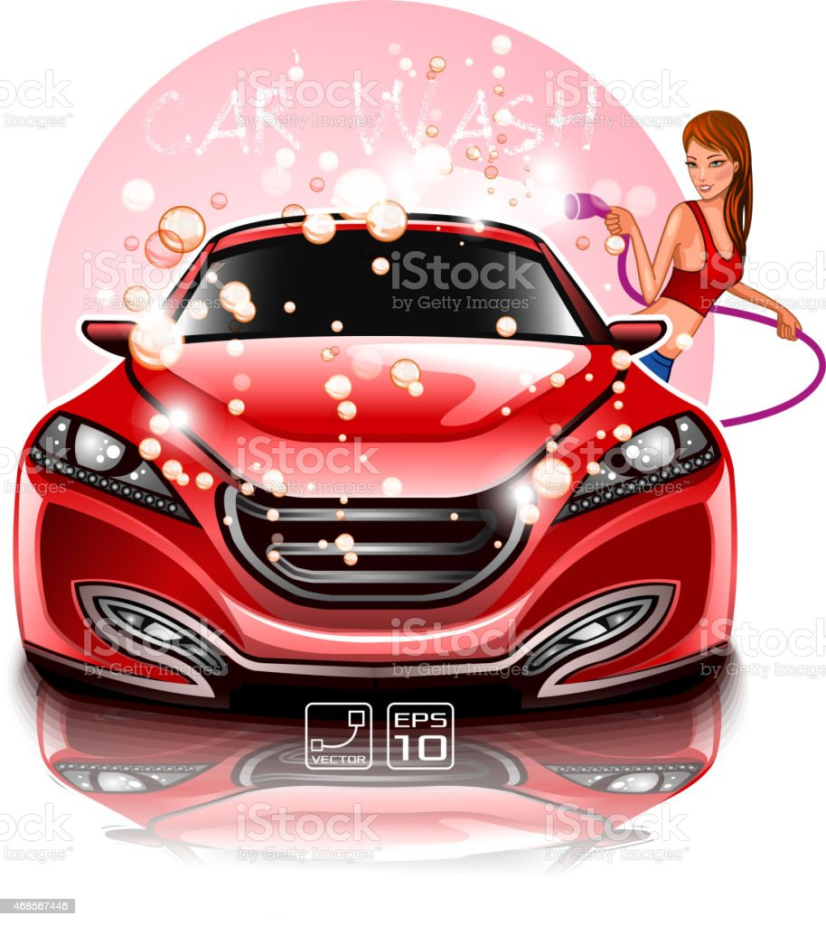 Car Wash Girl vector art illustration