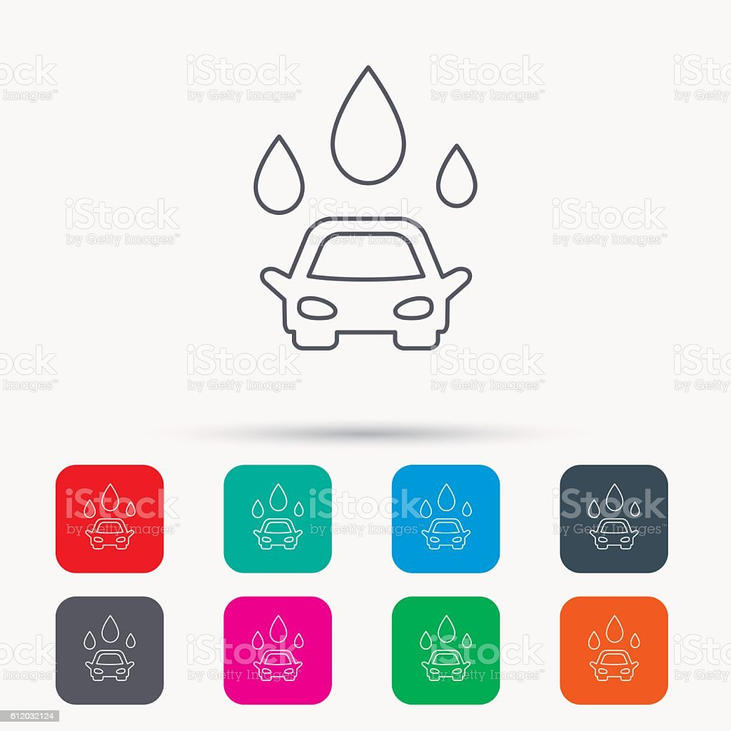 Car wash icon. Cleaning station with water drops. vector art illustration