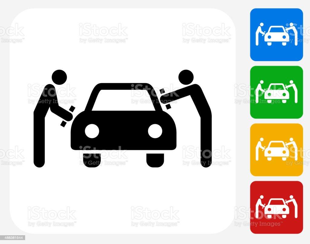 Car Wash Icon Flat Graphic Design vector art illustration