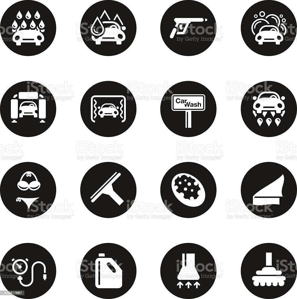 Car Wash Icons - Black Circle Series vector art illustration