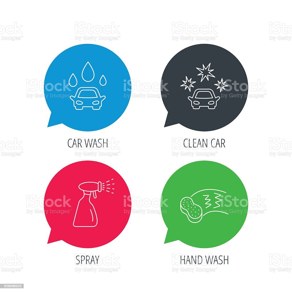 Car wash icons. Cleaning station linear signs. vector art illustration
