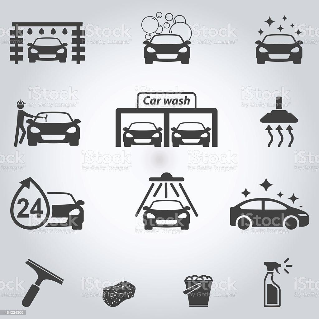 Car wash icons set vector art illustration