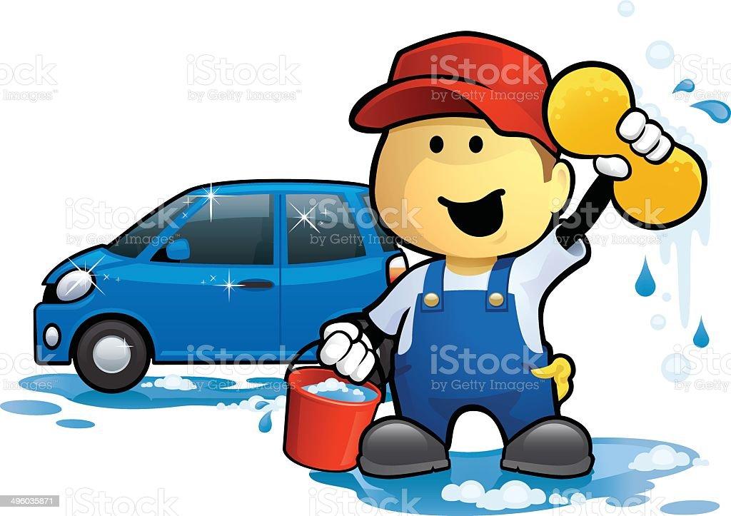 Car Wash Man vector art illustration