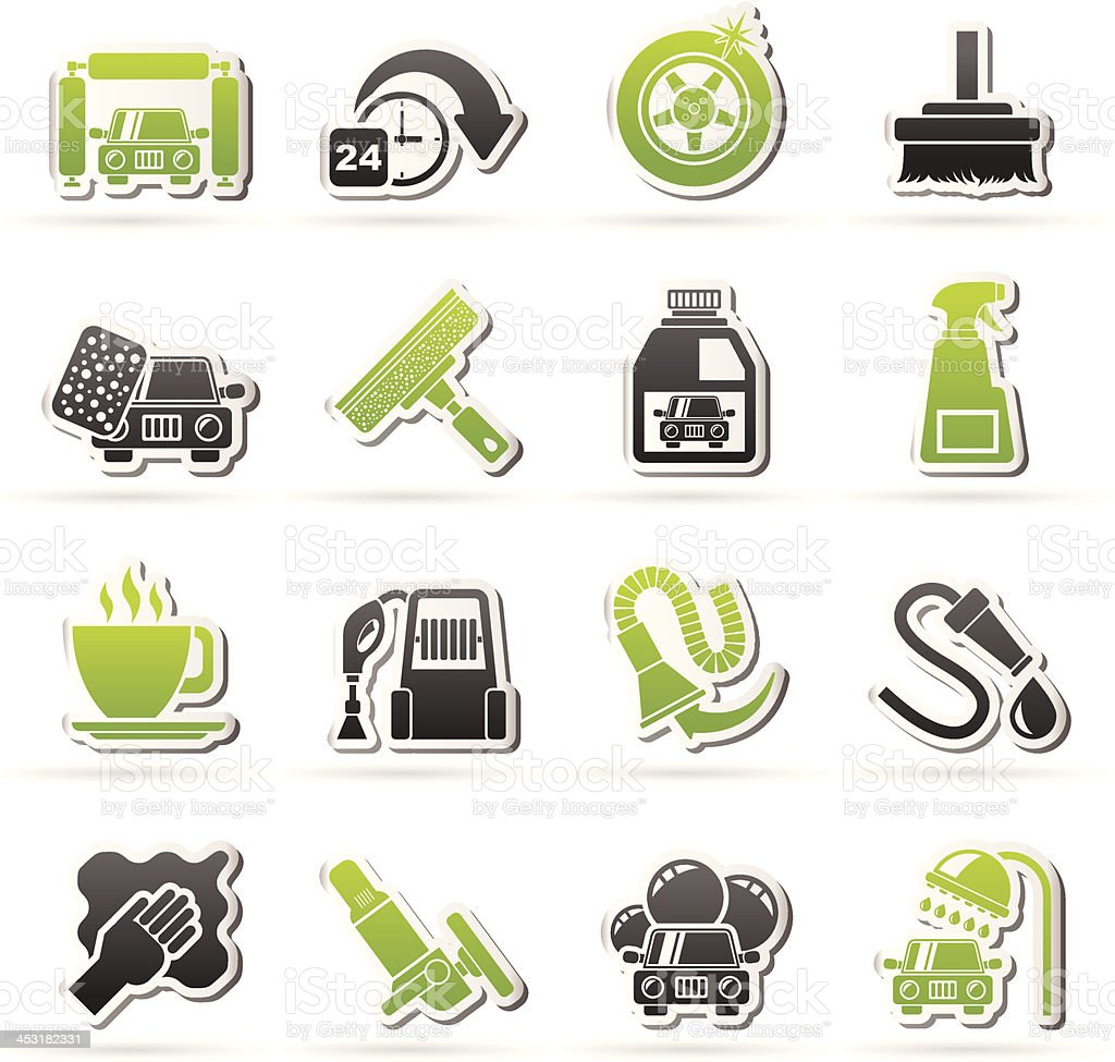 car wash objects and icons royalty-free stock vector art