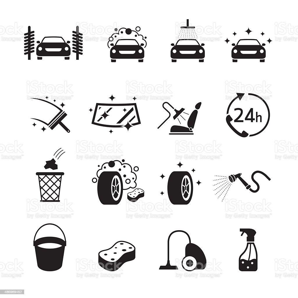 Car Wash Objects icons Set vector art illustration