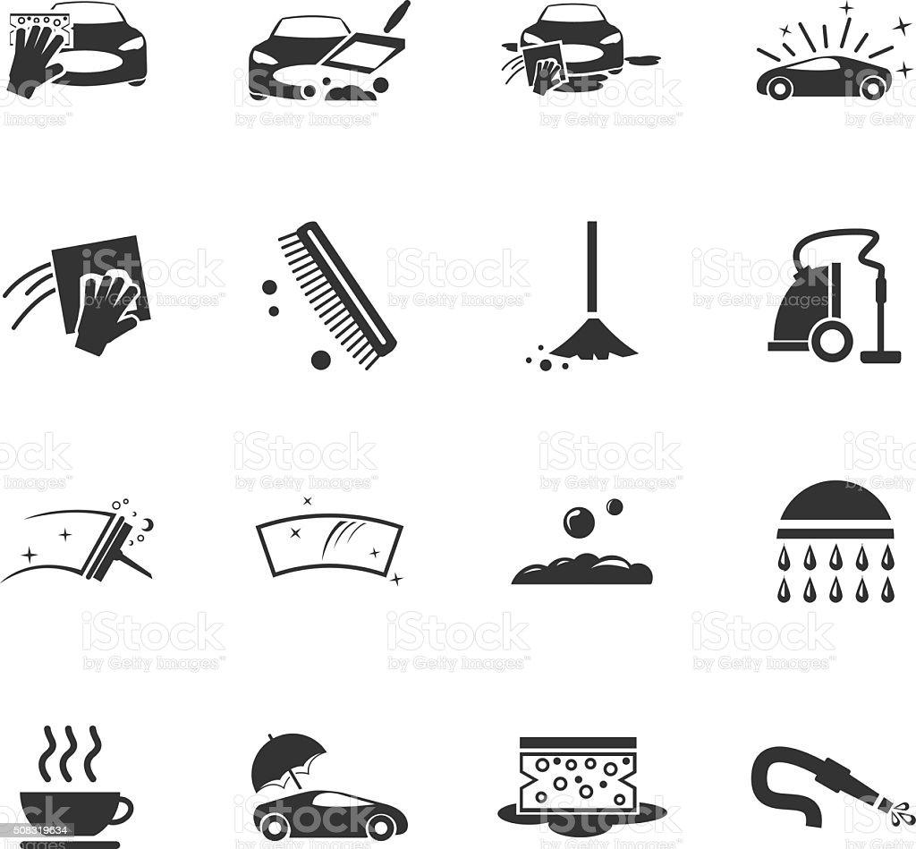 Car wash shower service icons set vector art illustration