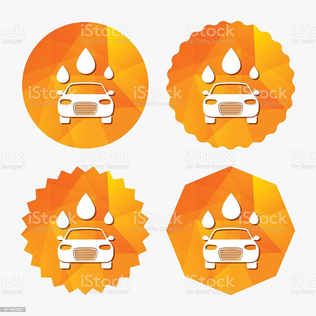 Car wash sign icon. Automated teller. Water drop. vector art illustration