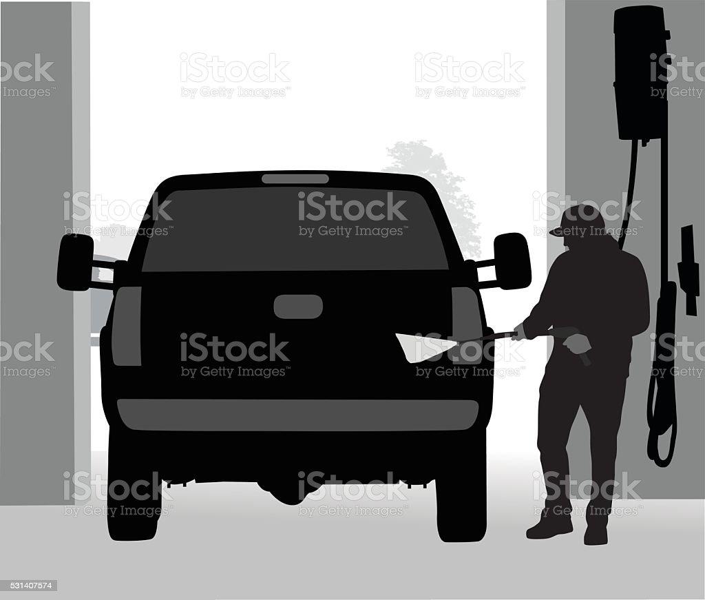 Car Wash Truck Spray vector art illustration