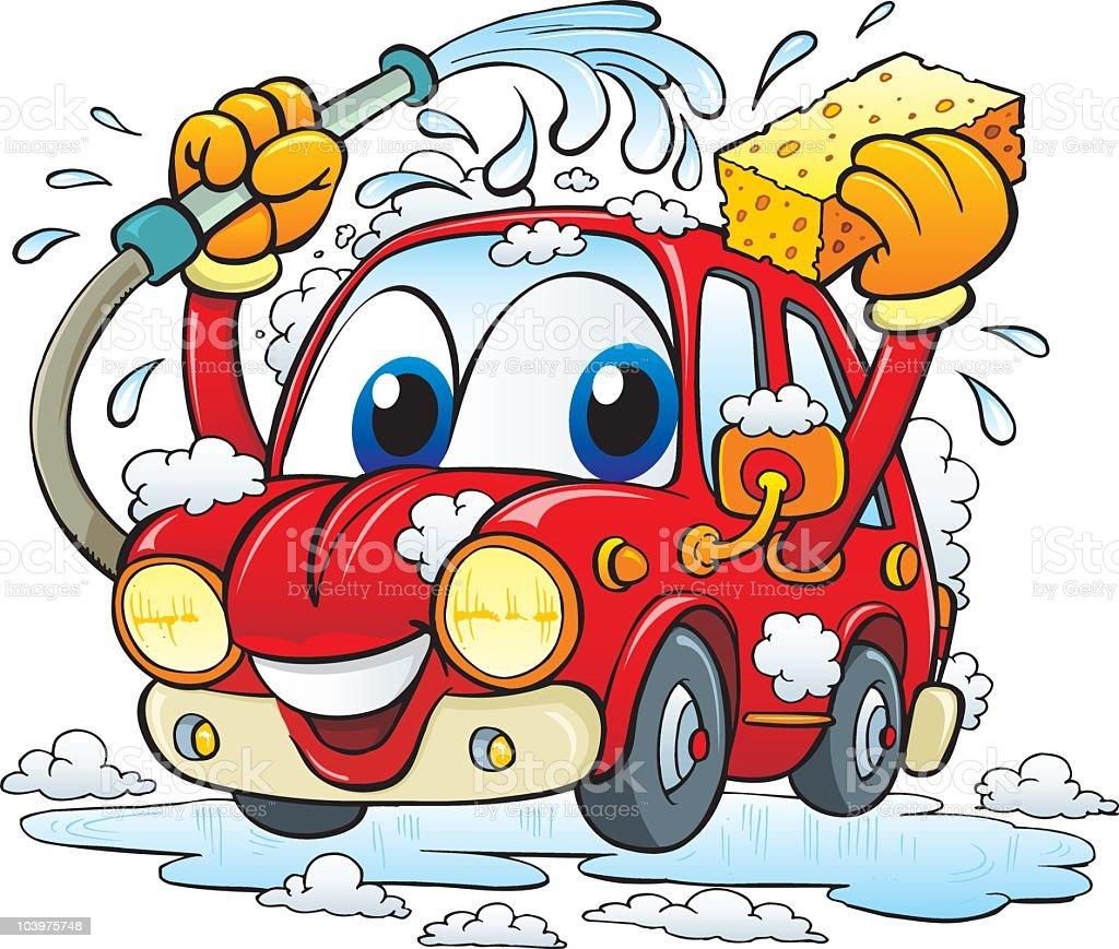 Car wash vector art illustration