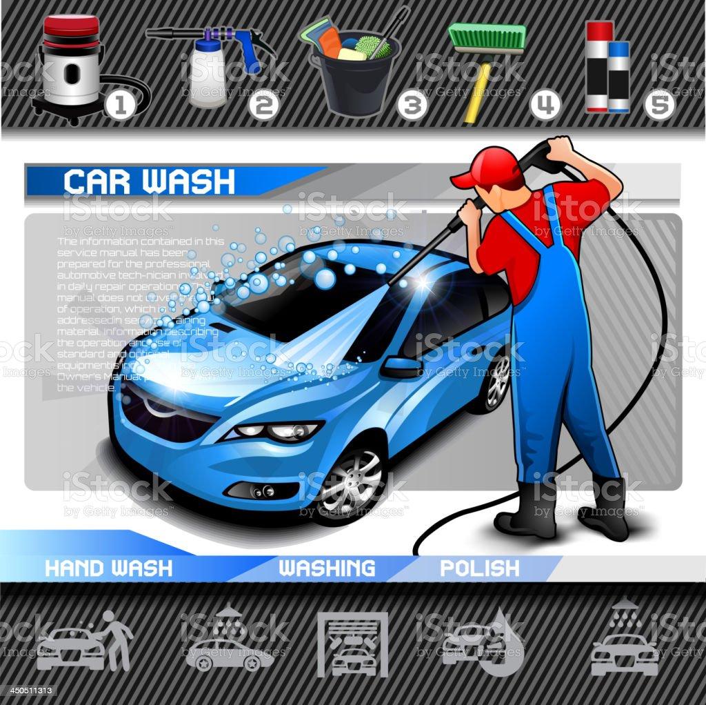 Car Wash vector set vector art illustration