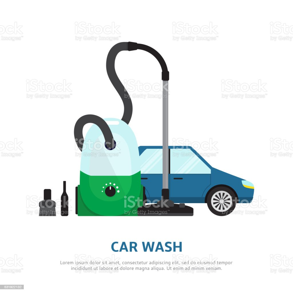 Car wash web background  in flat style royalty-free stock vector art