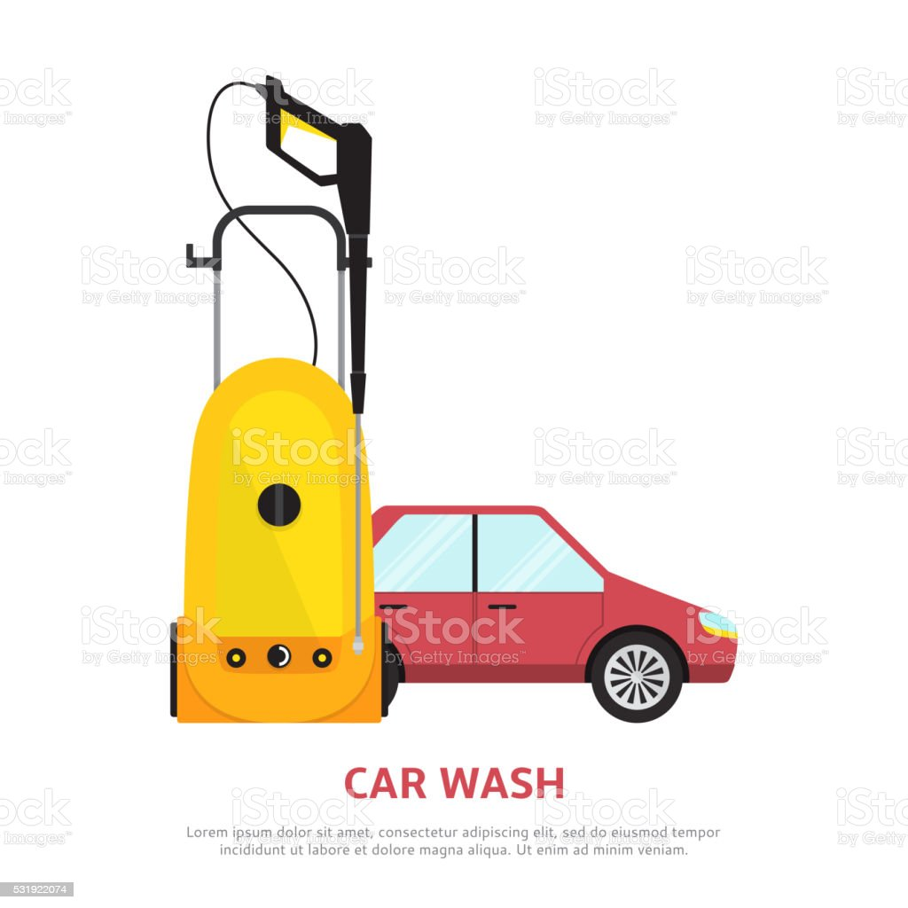 Car wash web banner in flat style. royalty-free stock vector art