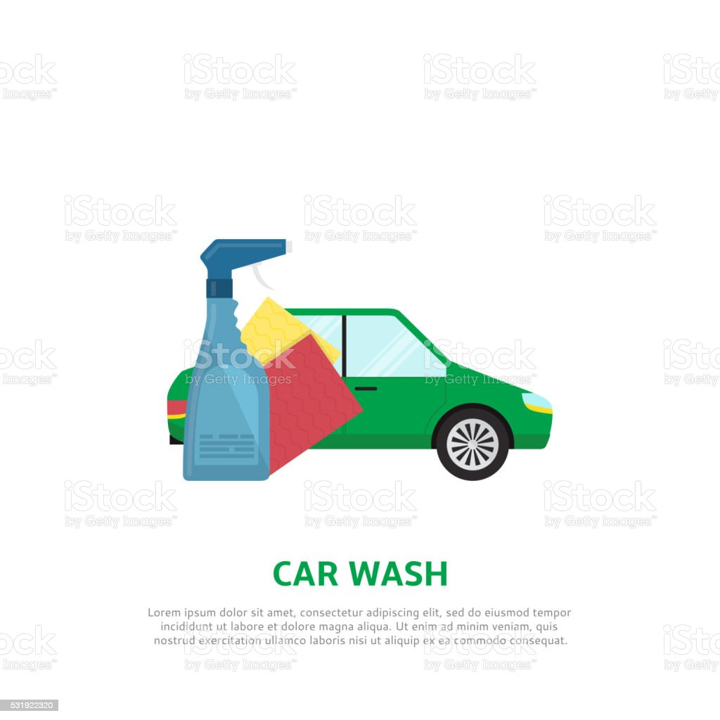 Car wash web banner in flat style royalty-free stock vector art