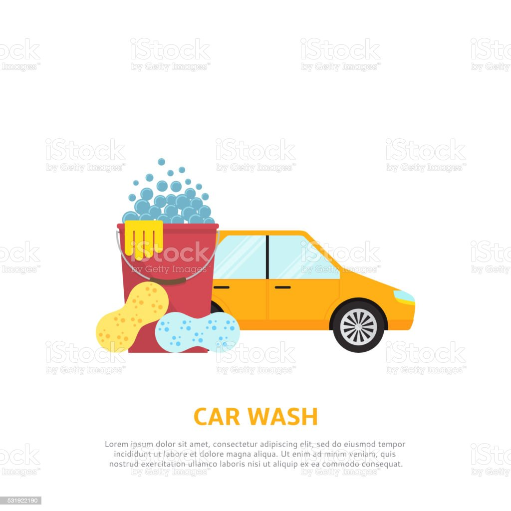 Car wash web illustration in flat style royalty-free stock vector art