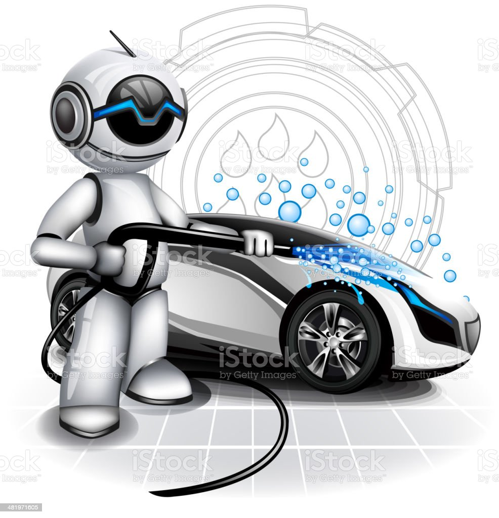 Car washer at work royalty-free stock vector art