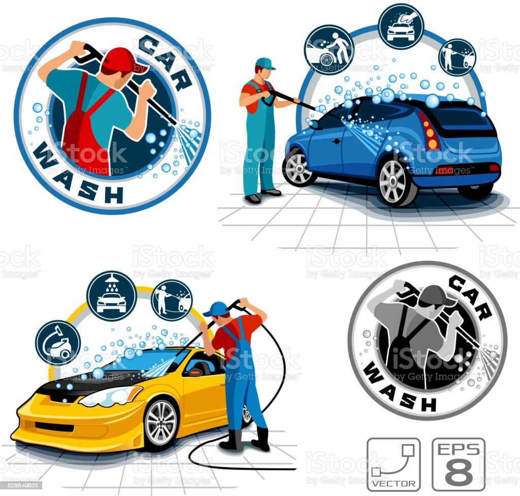 Car washing vector set vector art illustration