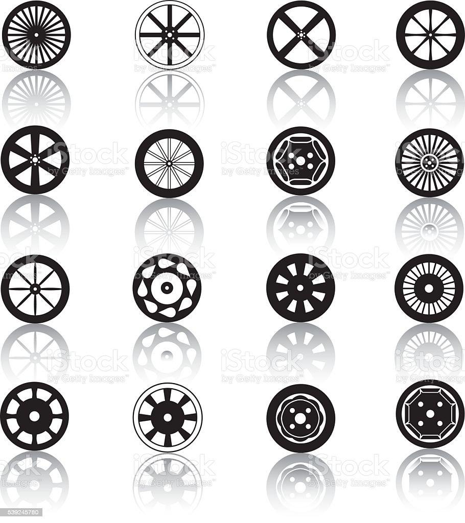 Car Wheel Icons vector art illustration