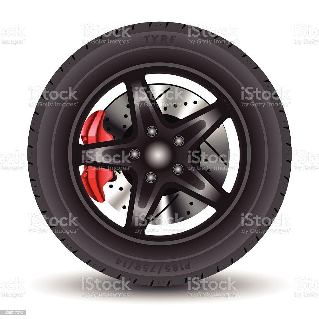 Car wheel vector art illustration