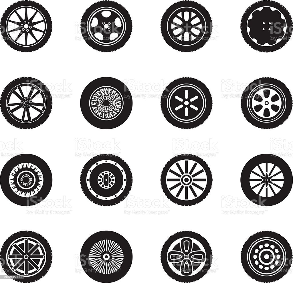 Car wheels icon set vector art illustration