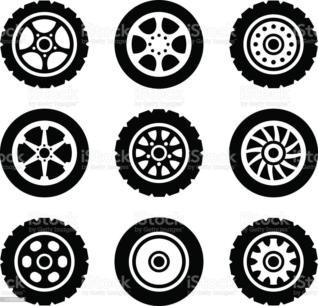 Car wheels icons set vector art illustration