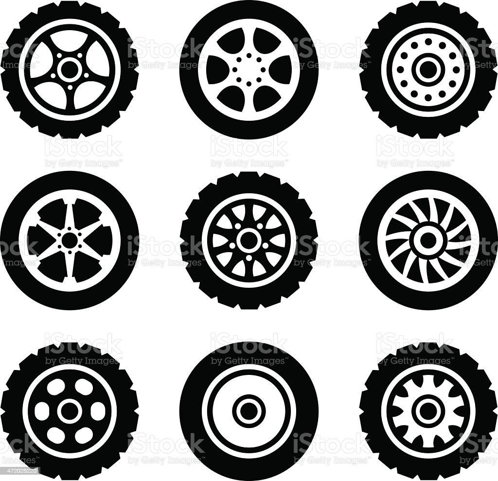 Car wheels icons set vector art illustration