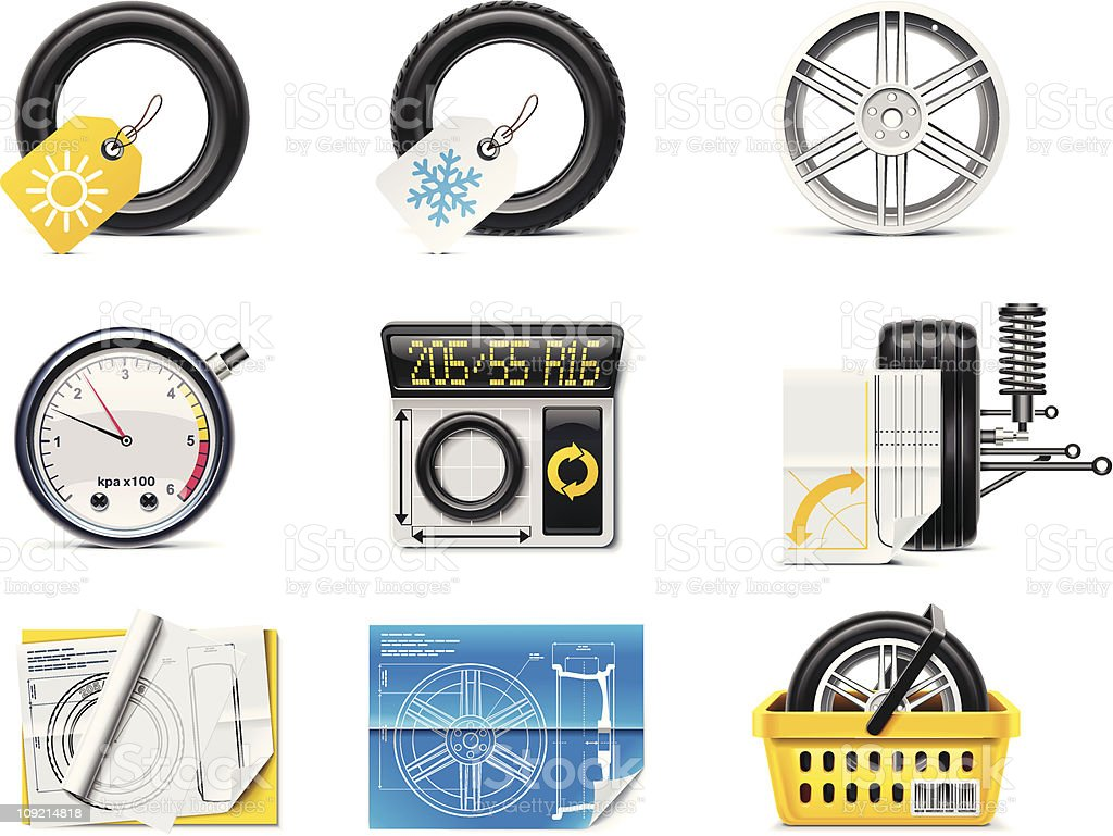 Car wheels (tires and rims) icons vector art illustration