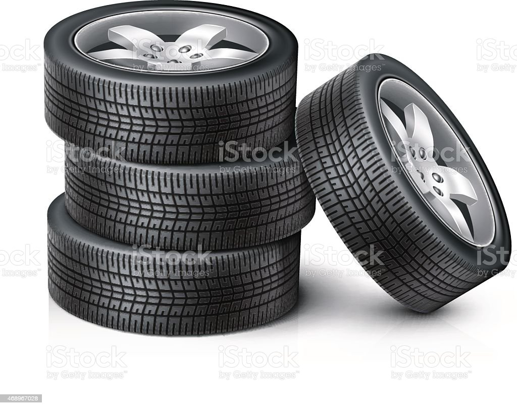 3 Car wheels stacked on top of each other with another wheel vector art illustration