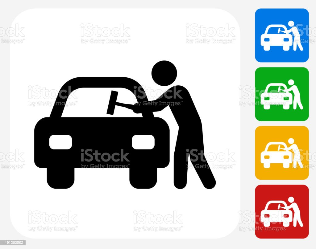 Car Window Cleaning Icon Flat Graphic Design vector art illustration