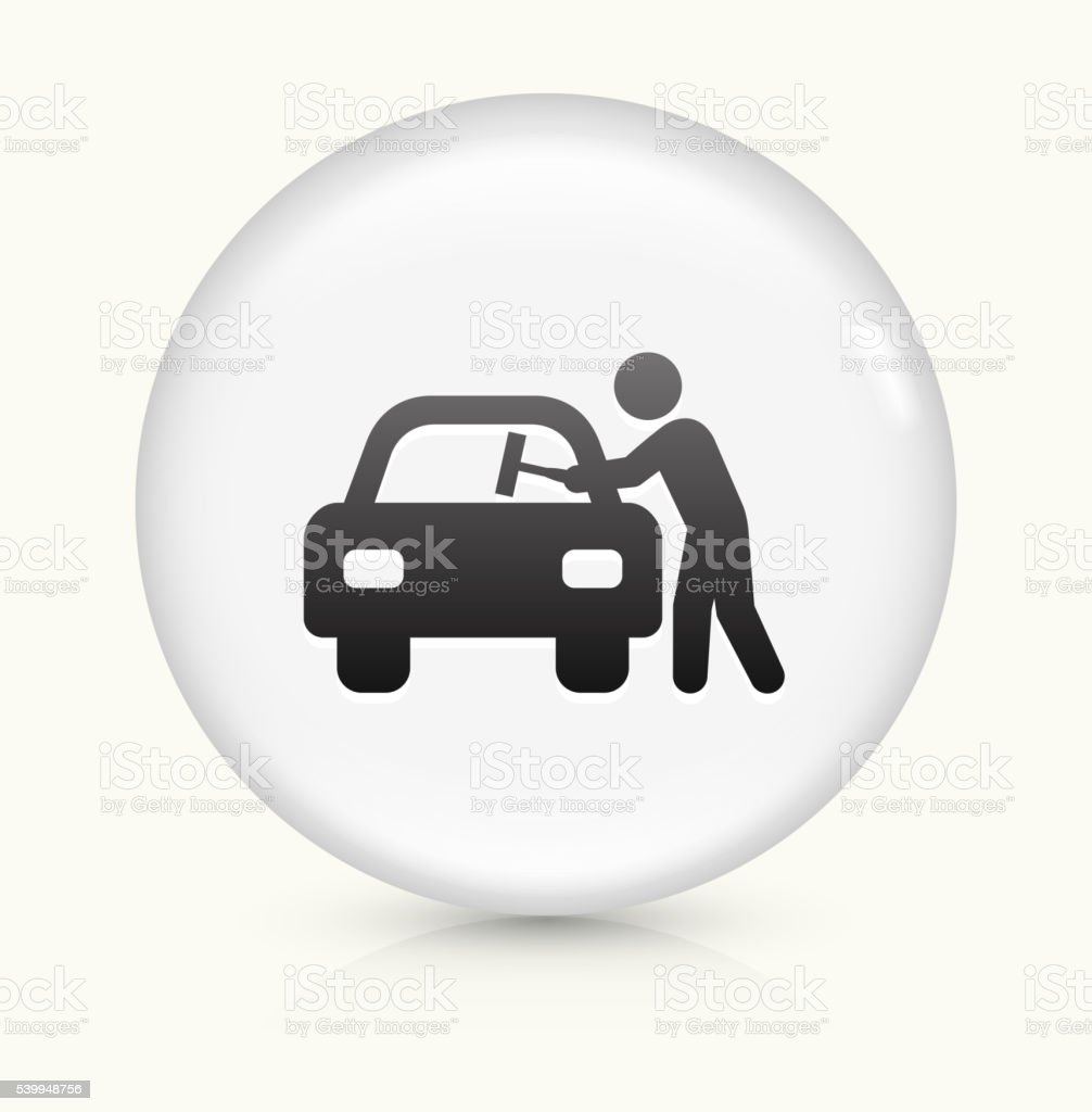 Car Window Cleaning icon on white round vector button vector art illustration