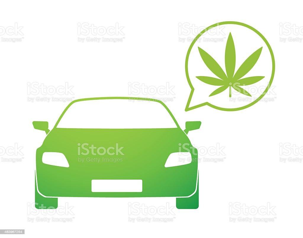 Car with a comic balloon and a marijuana icon vector art illustration