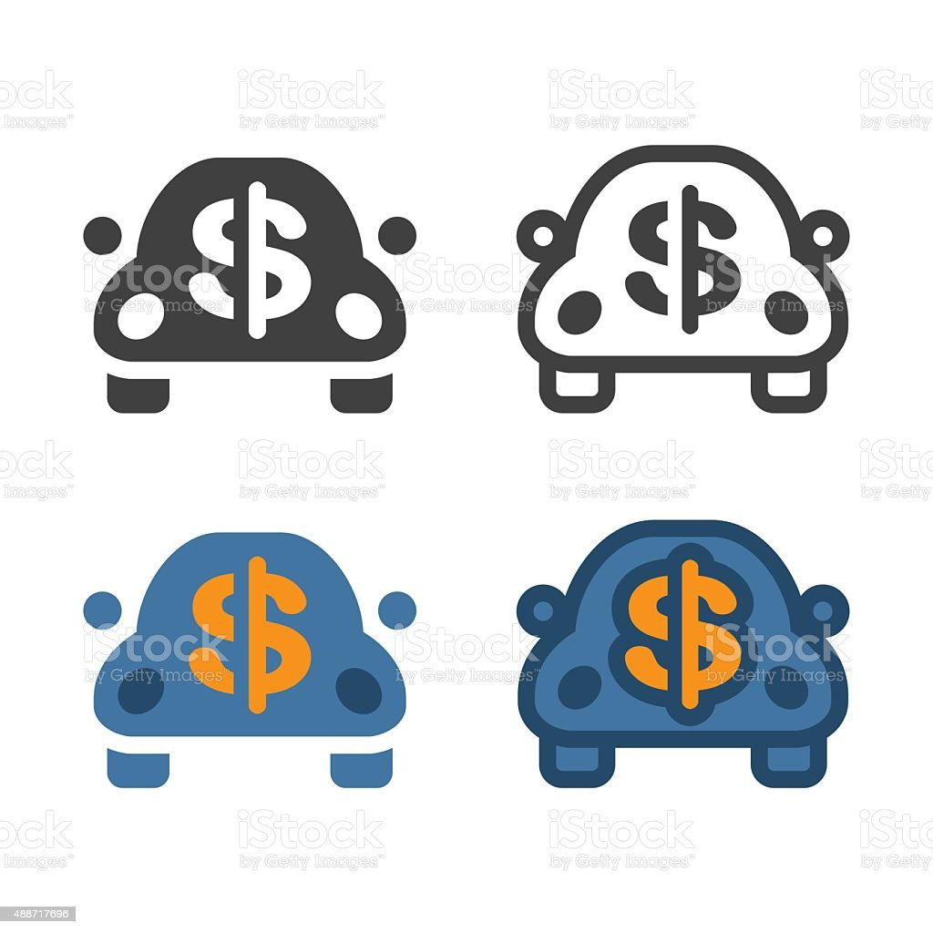 Car With Dollar Sign Icon vector art illustration