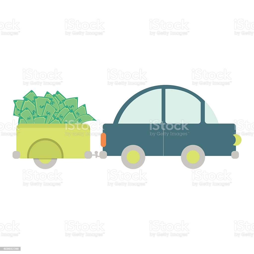 Car with money vector art illustration