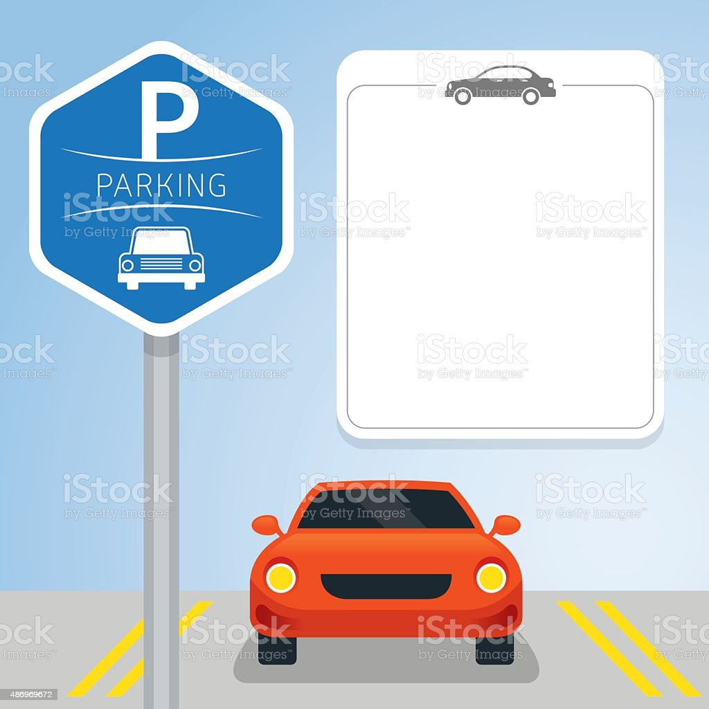 Car with Parking Sign vector art illustration