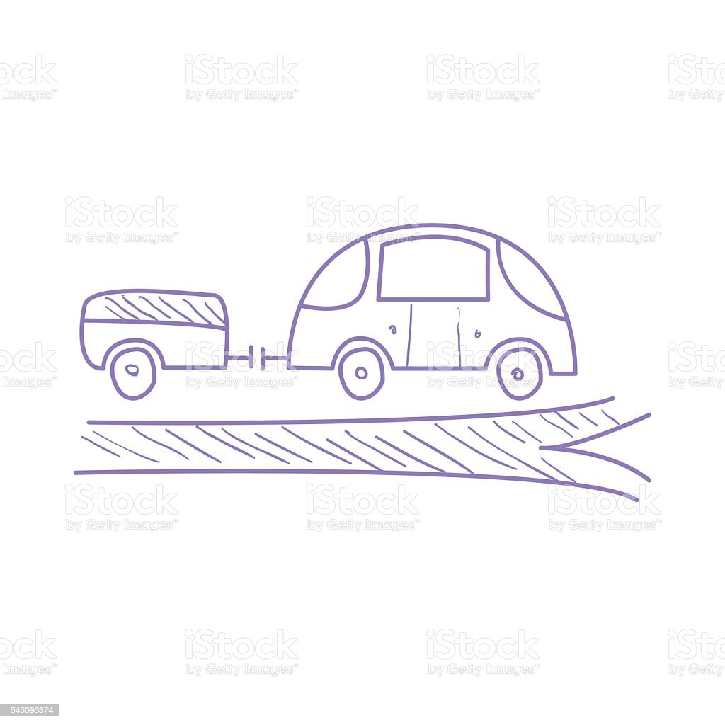 Car With Trailer On The Road vector art illustration