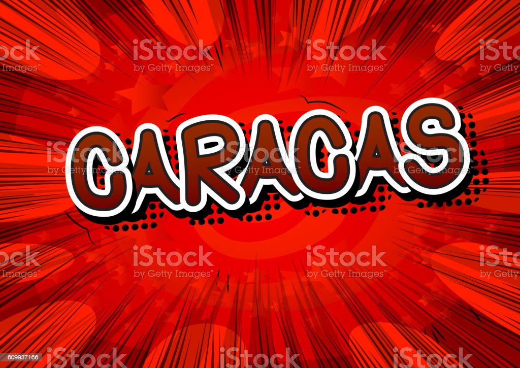 Caracas - Comic book style text vector art illustration
