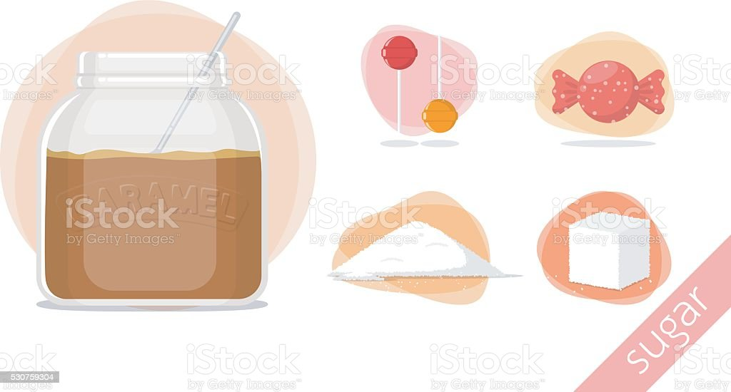 caramel candy sweet sugar vector art illustration