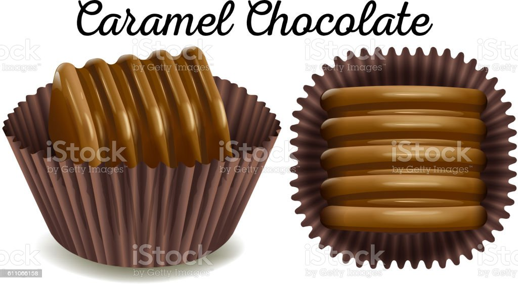 Caramel chocolate in brown cup vector art illustration