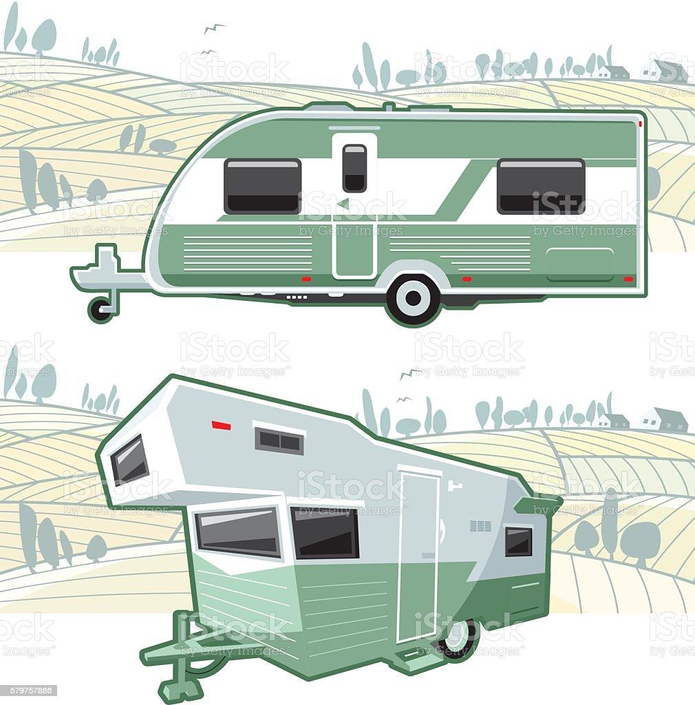 Caravan and landscape vector art illustration