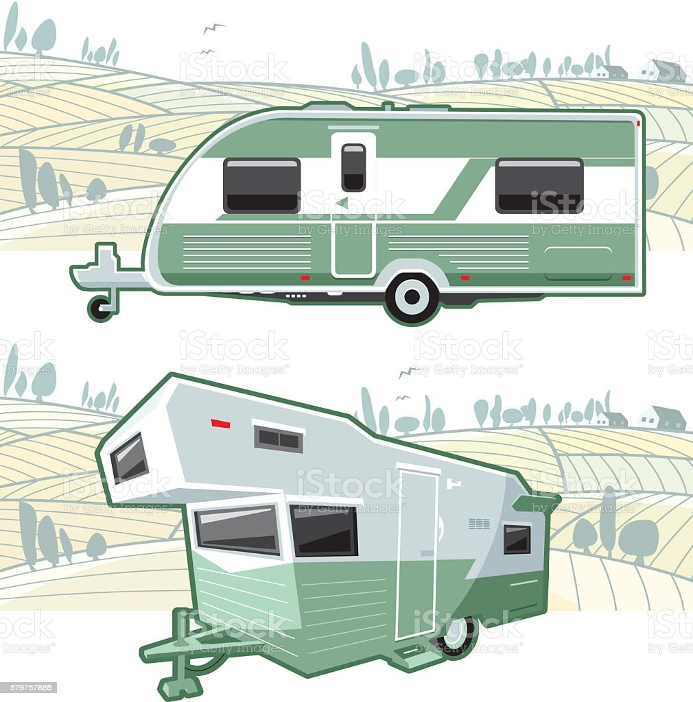 Caravan and landscape vector art illustration
