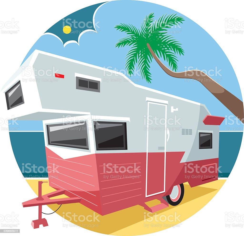 Caravan and peaceful beach vector art illustration