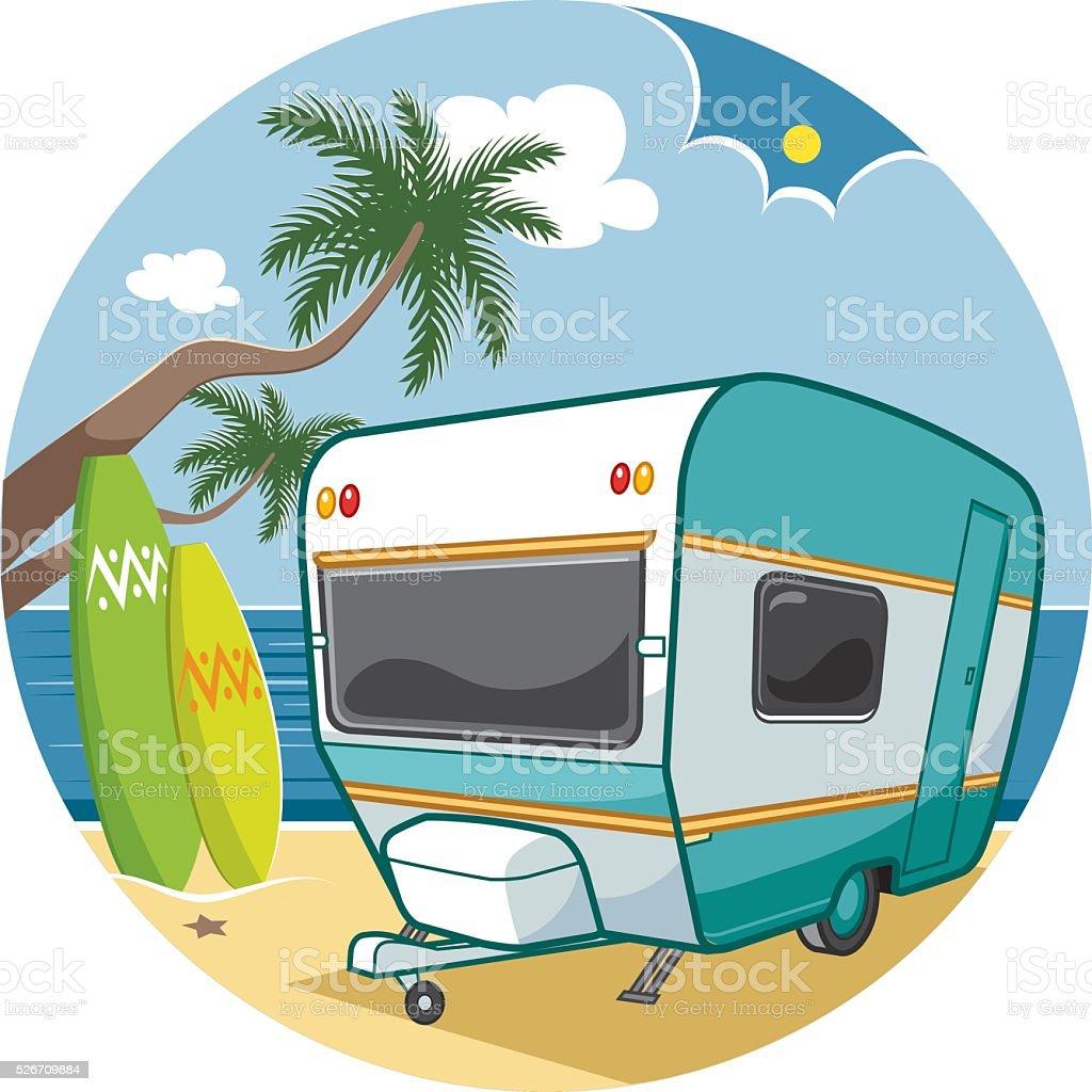 caravan  beach vector art illustration