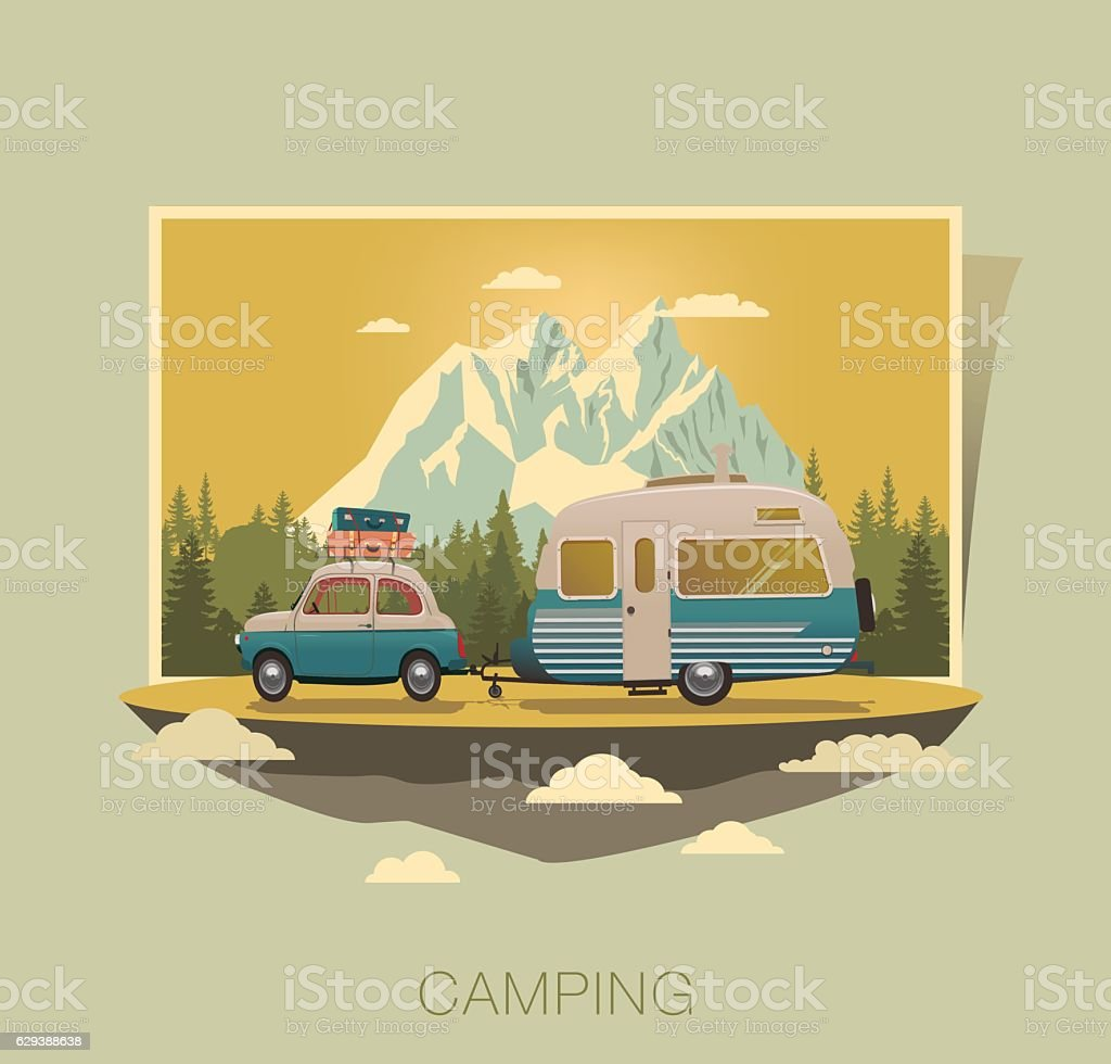 Caravan camping vector art illustration