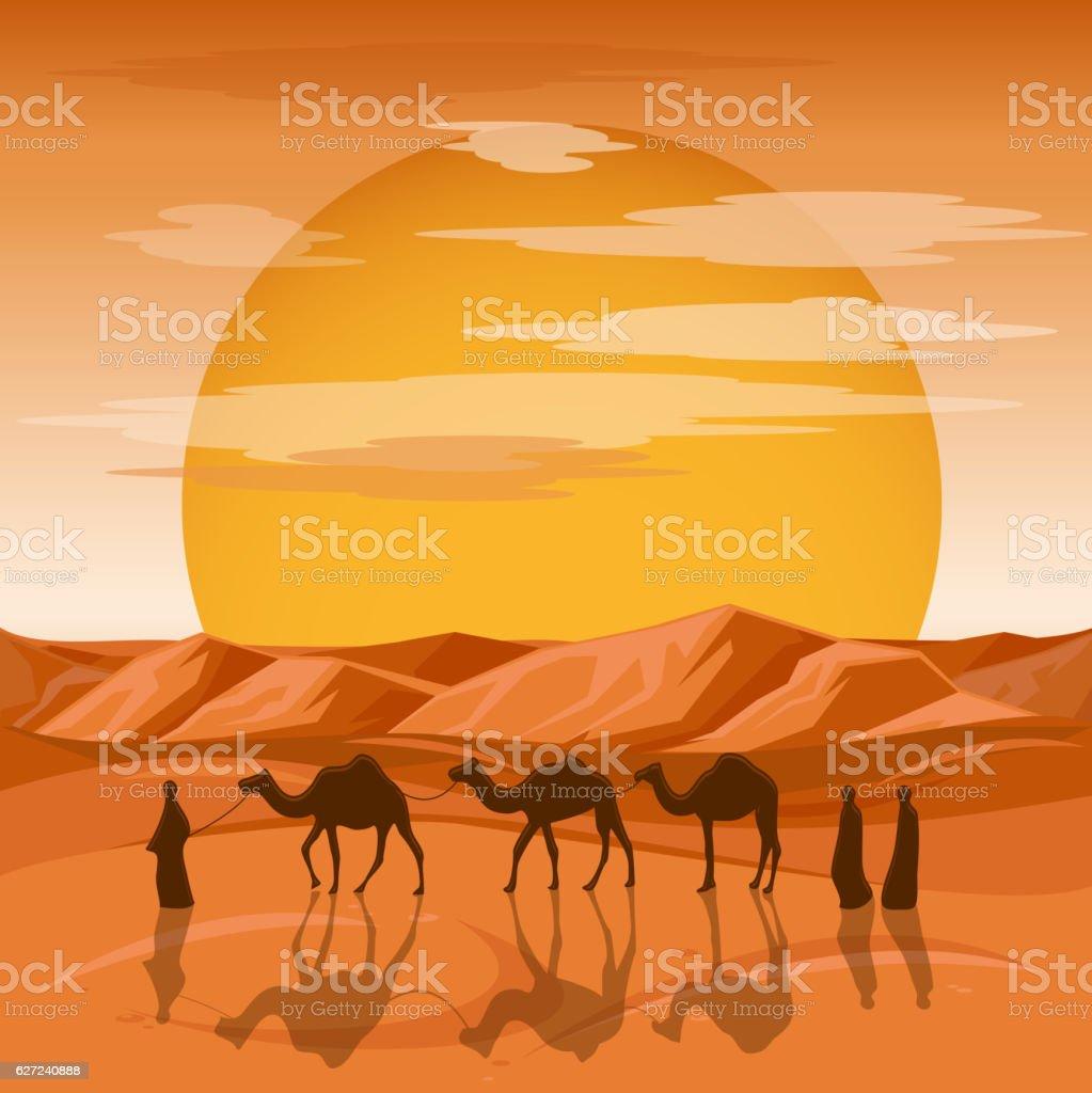 Caravan in desert vector background vector art illustration