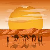 Caravan in desert vector background