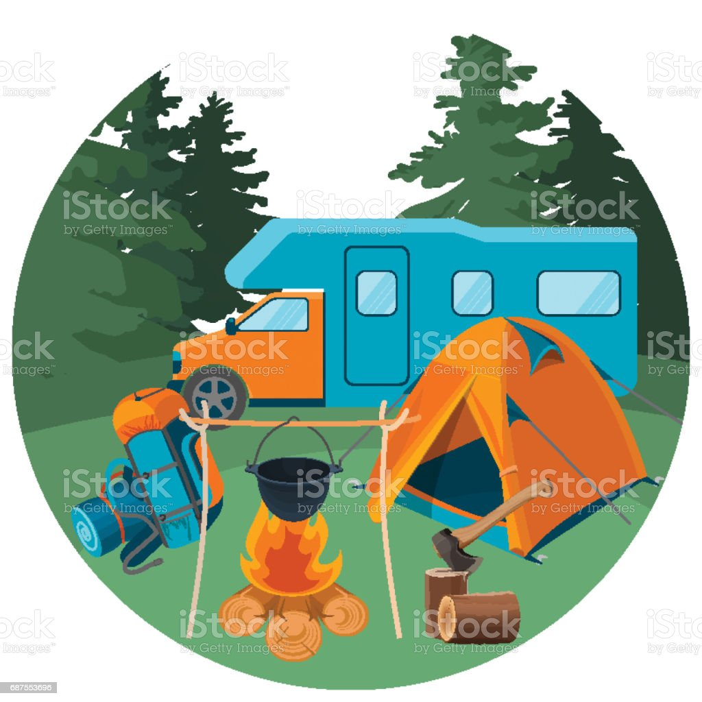 Caravan in forest with picnic equipment. Accessories for camping rest vector art illustration
